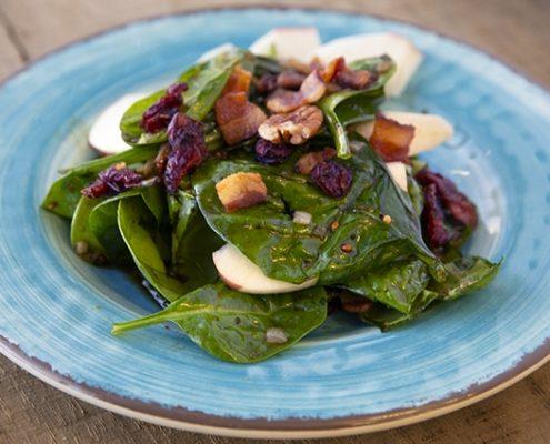 Warm maple Balsamic Spinach Salad